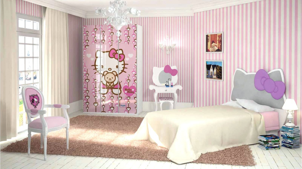 Wallpaper Hello Kitty Bedroom Ideas Furniture Pink Download Homifind