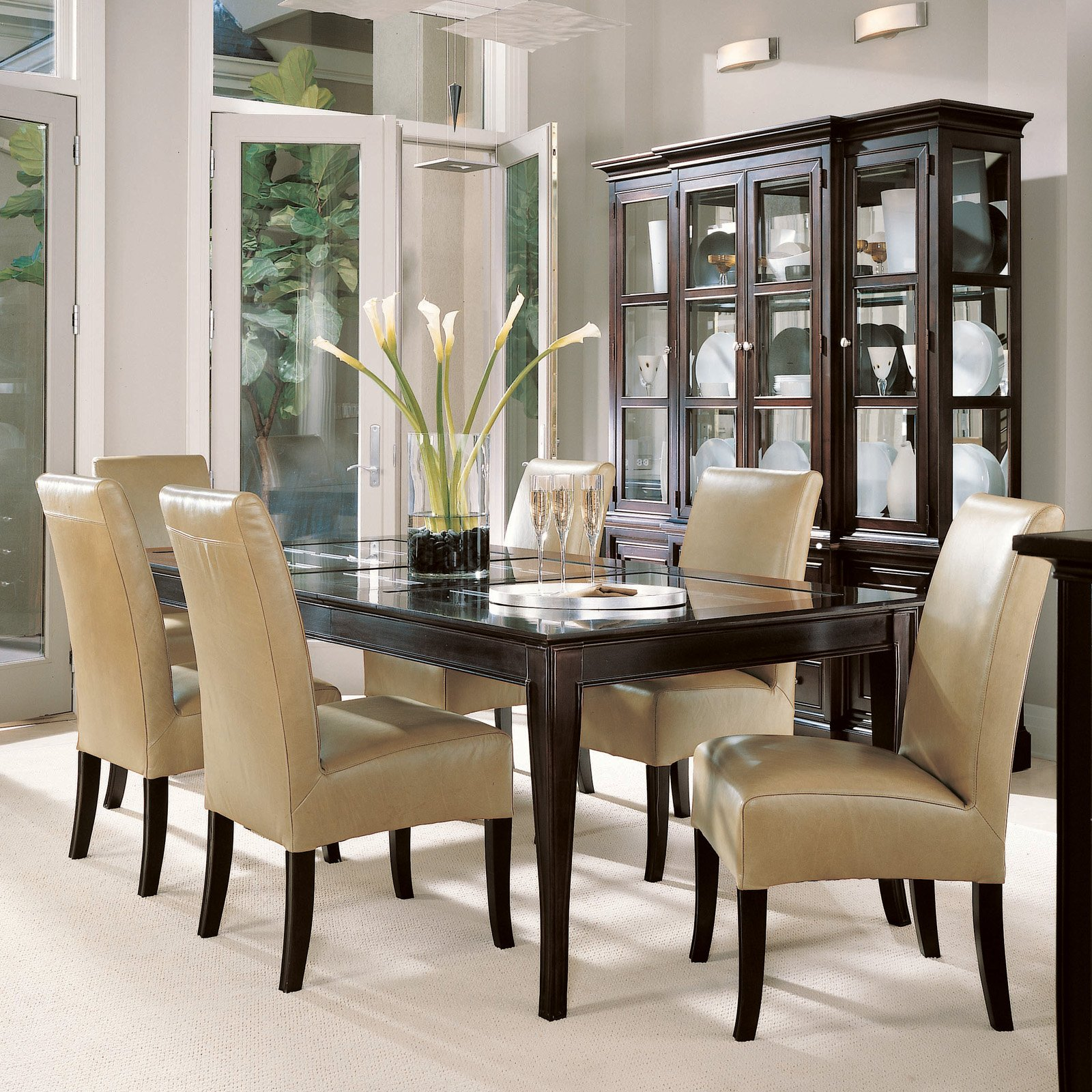 Small Space Dining Room Ideas Along Brown Leather Chair Black Stained Wood Homifind