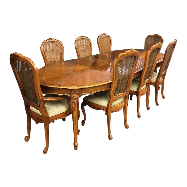 Vintage Thomasville French Court Dining Table Chairs Room Elegant Navy Blue Chair Sashes Homifind