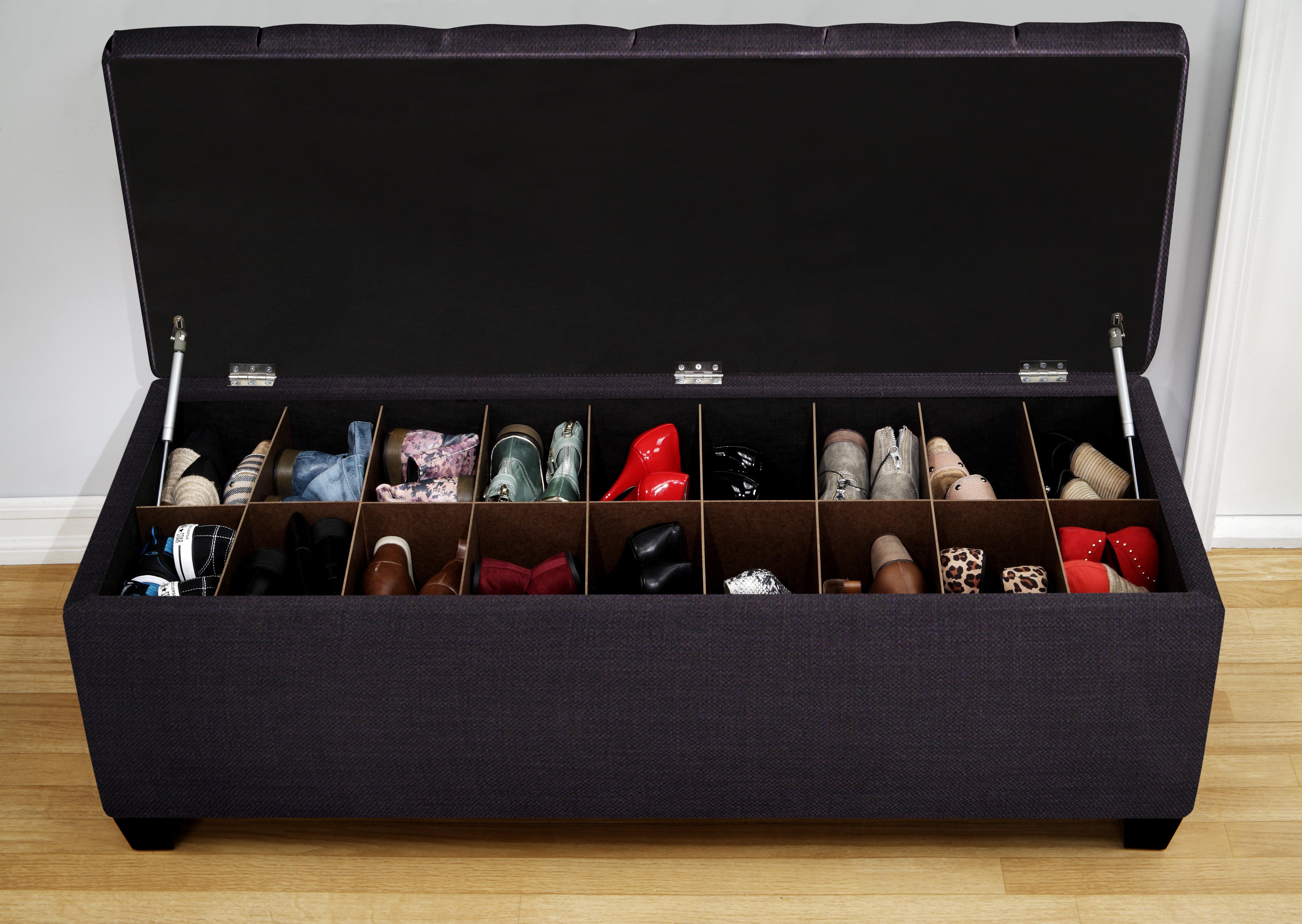 Shoe Storage Bench Slots Full Shoes Entryway Hidden Panels Homifind,Bright Orange Kitchen Accessories