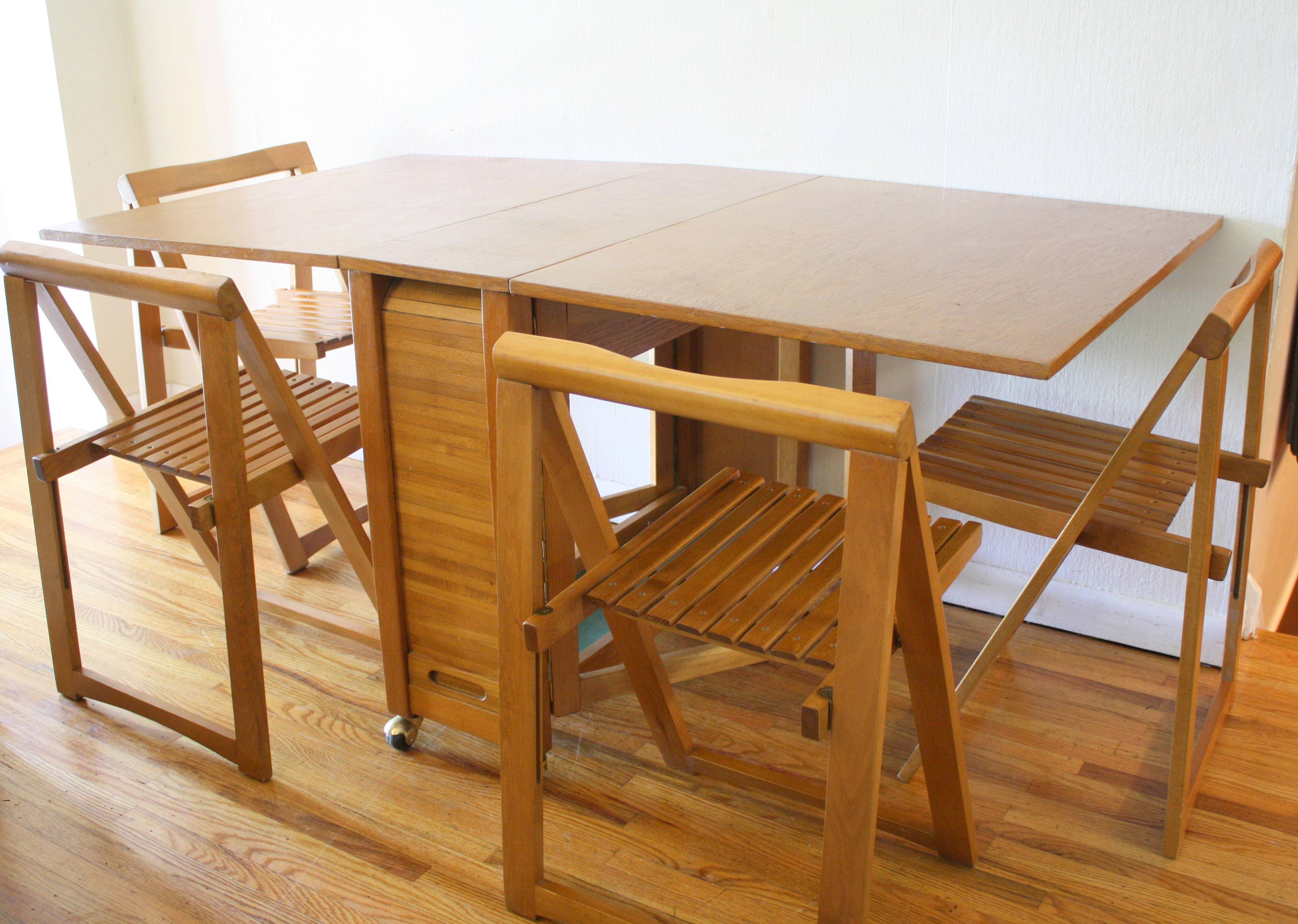 Successful Folding Dining Table Chair Storage Collapsible Tags Wood Homifind